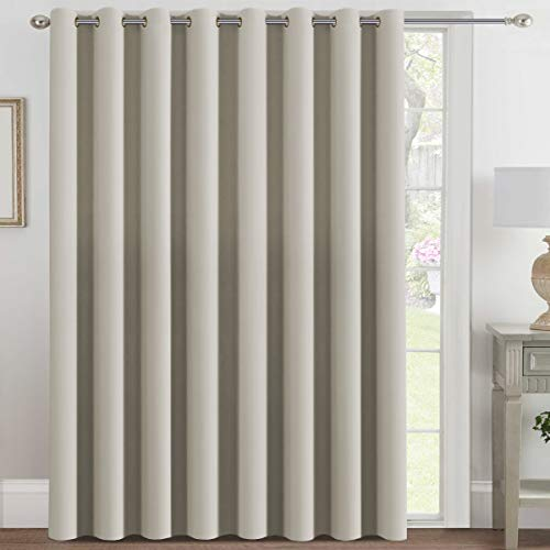 H.VERSAILTEX Blackout Patio Curtains 100 x 84 Inches for Sliding Door Extral Wide Blackout Curtain Panels Thermal Insulated Room Divider - Grommet Top, 7' Tall by 8.5' Wide - Cream
