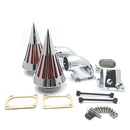 HTTMT- Motorcycle Chrome Billet Aluminum Cone Spike Air Cleaner Kit Intake Filter Compatible with Boulevard M109 (All Years) MT236-CHROME