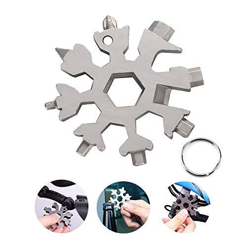 Hbsite Multi Tool Tragbares Edelstahl-Fahrrad Multifunktionswerkzeug 18-in-1 Schneeflocke Multitool Karte Schlüsselanhänger Flaschenöffner Ringschlüssel für Outdoor-Abent (Silber)