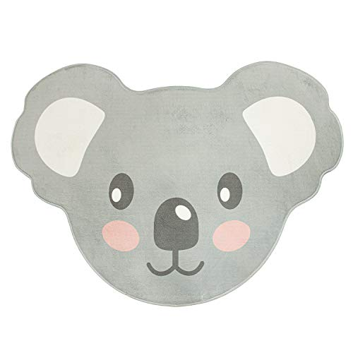 Paco Home Kinderteppich Teppich Kinderzimmer Spielmatte Babymatte Koala Tier Motiv Grau, Grösse:90x120 cm Koala