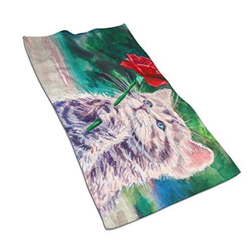 Toallas de mano grandes con diseño de gato vintage con rosas de 27 x 15 pulgadas, toallas de microfibra suaves para baño, toalla de mano altamente absorbente para mano, hotel, yoga, gimnasio, spa