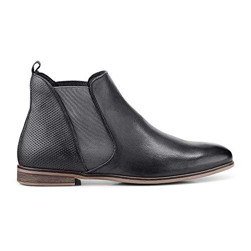 Cox Damen Chelsea-Boots aus Leder, Stiefeletten in Schwarz mit filigranen Perforierungs-Elementen Schwarz Leder 39