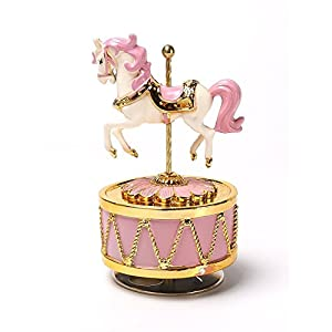 HoneyGifts Luxury Carousel Music Box, Happy Pony Design, for Kids (Pink & Gold) 4