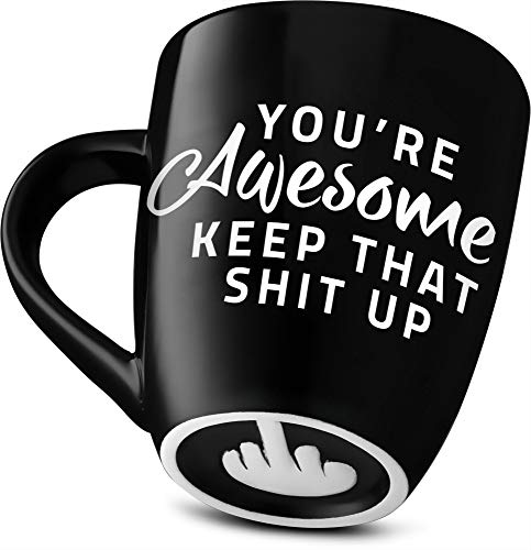 Decodyne Funny Coffee Mug, with Middle Finger on the Bottom - Funny Gifts Novelty Mugs 14 oz. (You're Awesome)