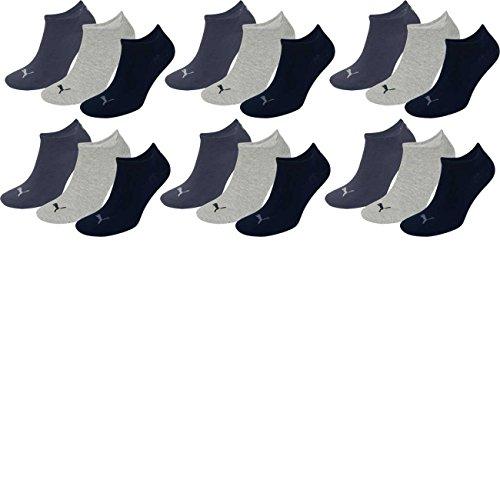 PUMA Unisex Invisible Sneaker Socken 6er Pack, Größe:35-38, Farbe:navy/grey/nightshadow blue