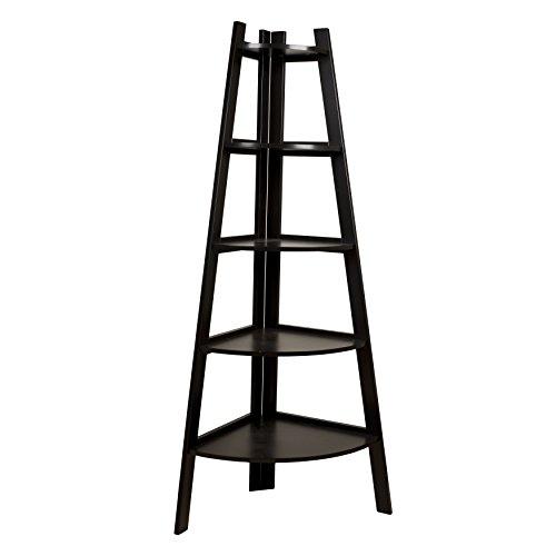 Danya B. BQ0279 Free Standing 5-Tier Pyramid Corner Ladder Display Shelving Unit/Bookshelf - Expresso