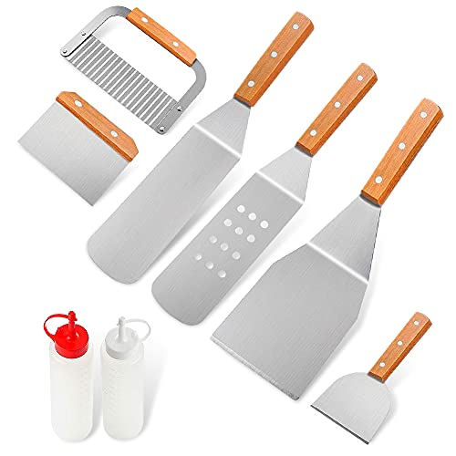 Home Safety Spatula Set Griddle Accessories Kit,Professional 8PCS Grade Spatula Turner Set for Men Dad, Heavy Spatula Griddle Accessories丨Great for Flat Top Grill Cooking Camping Teppanyaki