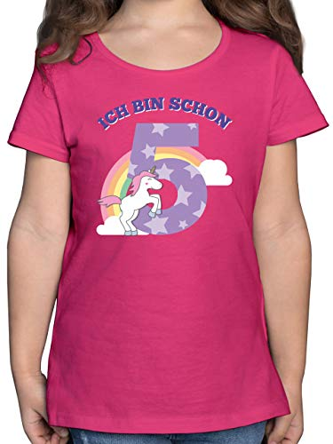 Kindergeburtstag Geschenk - Ich Bin Schon 5 Einhorn - 116 (5/6 Jahre) - Fuchsia - Einhorn Shirt mädchen - F131K - Mädchen Kinder T-Shirt