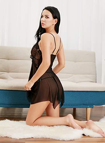 RZS Womens Sexy Lingerie Lace Babydoll Set Open Front Style Nightwear Strap Dress(Black, XL)