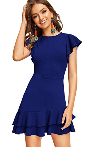 Floerns Women's V Back Inslace Layered Ruffle Hem Flutter Sleeve Dress Blue-2 S