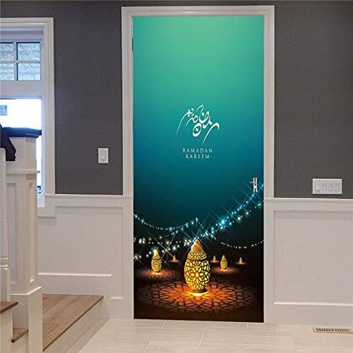 Decoración del hogar Pasta Autoadhesiva Etiqueta de la Pared Diwali Linterna Creativa Escalera Impresión Color Ladrillos Tirando de la Puerta Papel Tapiz Imagen A24 86x200cm
