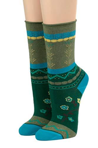 CRÖNERT Socken Longsocks mit Rollrand Design Laura 18420 (39/42, grün 2159)