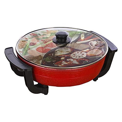 Maceta de pato mandarin, doble Hot Maceta, fondue china, Hot Maceta eléctrica multifuncional, antiadherente doméstico, 6 l de gran capacidad, color rojo.