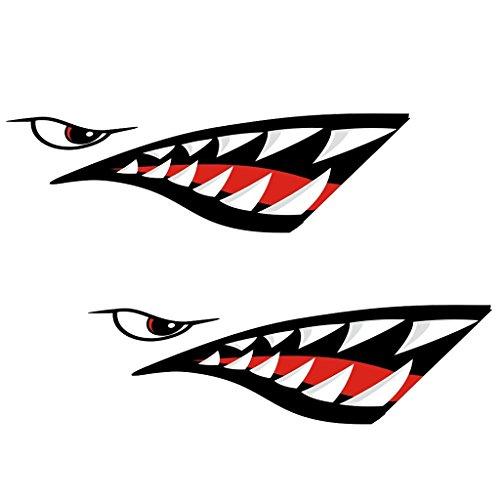 2 Pezzi Adesivi Vinile Stickers Impermeabile Kayak Stile di Bocca dei Denti Squalo per Moto, Auto Rally Decorazione
