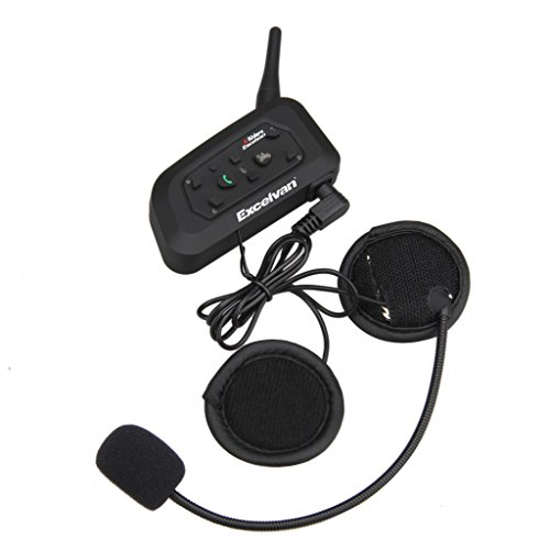 Excelvan V6 - Auriculares Intercomunicador Bluetooth para casco de motocicleta Moto Intercom Headset 1200M, (Intercomunicacion entre 6 motociclistas, Enchufe de EU BT)