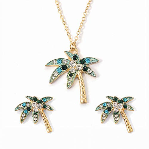N/A Collar Colgante Conjunto de árbol de Coco Joyas Collar de Hoja con Micro Incrustaciones Pendientes Estilo Tropical Moda de Moda Regalos de Fiesta de cumpleaños de Navidad