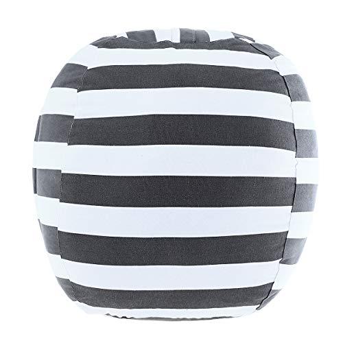 "DeELF Stuffed Animal Storage Bean Bag Chair 24"" for Kids Room DIY Bean Bag Covers Only White Gray Stripes"