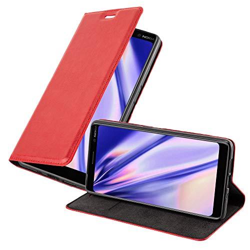 Cadorabo Custodia Libro per Nokia 7 Plus in Rosso Mela - con Vani di Carte, Funzione Stand e Chiusura Magnetica - Portafoglio Cover Case Wallet Book Etui Protezione
