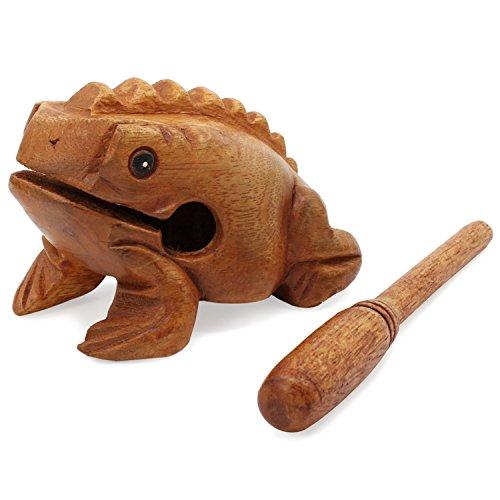Aussel Guiro Croaking Hölzerner Frosch mit Schlägel, Musikinstrument Sound Block, Fairer Handel Percussion Instrument (12.7CM)