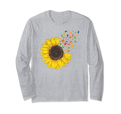 Sunflower Autism Awareness Month Sunflower Puzzle Pieces Manga Larga