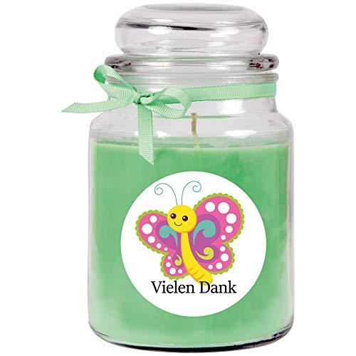 HS Candle Dankes-Duftkerze im Bonbonglas Danke, Duft: Kokos (Grün), 500g - Brenndauer bis zu 110 Stunden, Kerze aus Glas mit Duft