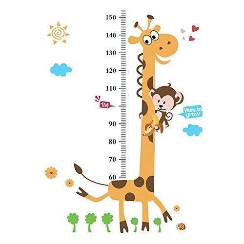 Kinderen hoogte grafiek, Cute Patroon Giraffe Wandsticker lengtegroei Measurement Tool for Kids Nursery Bedroom Living Room (60 * 90 cm) (Maat: 60-150cm) (Size : 60150cm)