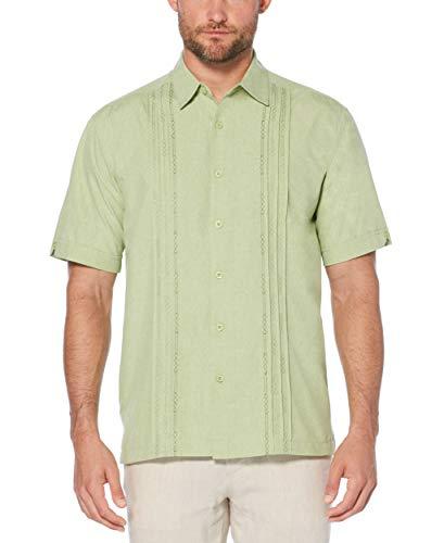 Cubavera Men's Chambray Pintuck Geometric Short Sleeve Button-Down Shirt, Reseda, Large