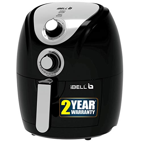 iBELL AF23BS 2.3 Litre 1200W Crispy Air Fryer with Smart Rapid Air Technology,Timer Function & Fully Adjustable Teperature Control(Black)