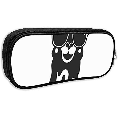 Schule Federmäppchen, Jugend Cool Lama Text Skizze Tier Sonnenbrille Wildlife Federbeutel Büro Schreibwaren Tasche