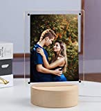 Acrylic Photo Frame Night Light Photo Display Stand Glass Art Gifts Double Sided Magnetic Photo Frames LED (Round Base)