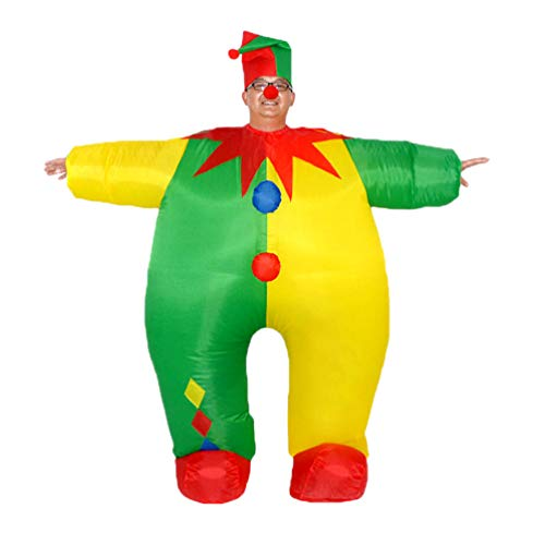 JEELINBORE Disfraces Inflable para Adultos - Disfráz de Payaso Clown - Traje Hinchable para Halloween Carnaval Navidad Cosplay Novedad (Payaso, One Size)