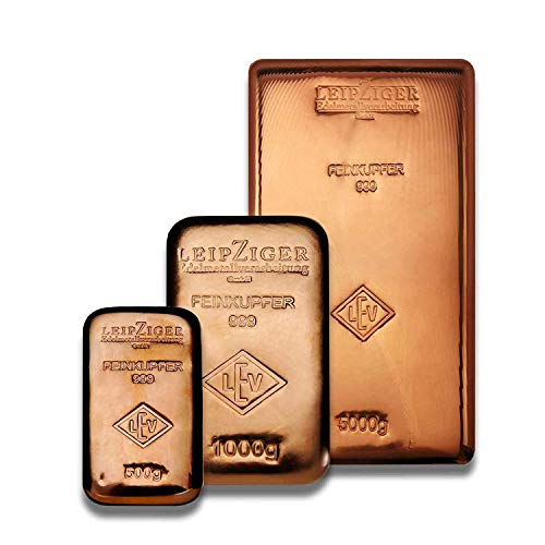 Kupferbarren, Messingbarren, Aluminiumbarren von LEV Leipziger Edelmetallverarbeitung (3er Set Kupferbarren gegossen)