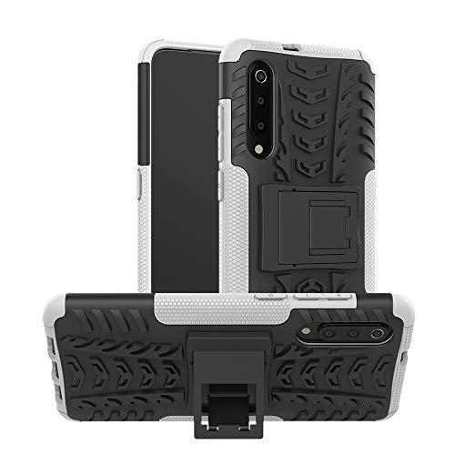 """Goyi Coque Xiaomi Mi9, Housse de Protection PC + TPU 2-en-1 Robuste [Tough Armor] 360 Degré Anti-Choc Anti-Rayures Etui Coque avec Verre Trempé [Support] pour Xiaomi Mi9(6.39"""")-Blanc"""