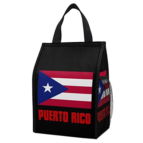 Pride of Puerto Rico Flag Foldable Lunch Tote Bag Meal Handbag Box Organizer For Work Picnic School Shopping