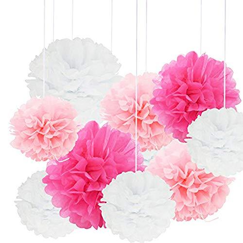 Nuptio 18 Piezas de Papel para Colgar Pompones Rosa Tema Temático Pompones Flores Celebración de Cumpleaños Fiesta de Bodas Halloween Navidad Decoración al Aire Libre, 20cm 25cm 30cm