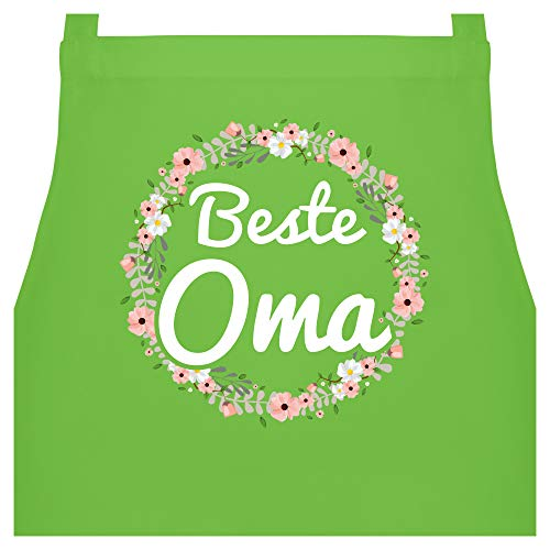 Schürze mit Motiv - Beste Oma Blumenkranz - 60 x 87 cm (B x H) - Hellgrün - schürze damen - PW102 - Kochschürze für Männer und Damen
