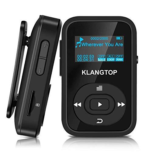 KLANGTOP MP3-speler sport Bluetooth mini muziekspeler 8G met clip 30 uur afspelen FM-opname, zwart