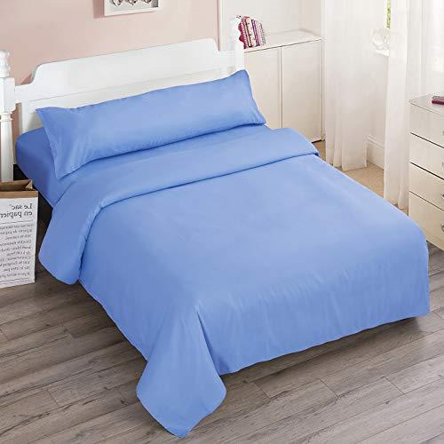 Dalina Textil Juego de Sábanas para Cama 3 Piezas - 1 Sábanas Bajera Ajustable Cama 150cm con Encimera 230x260cm y 1 Funda de Almohada Larga ( Cama de 150x190-200cm Azul Celeste)