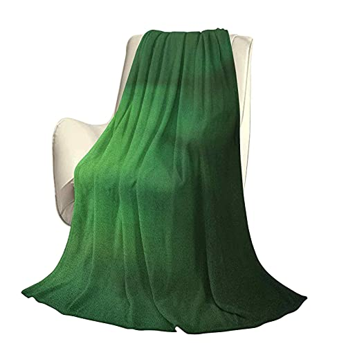 Colcha Moderna y Elegante de Color Verde Bosque para Todas Las Estaciones, futón, patrón Abstracto con Onda de Color en Tonos Verdes y Efecto Ombre, Manta cálida para Sala de Estar / dormito