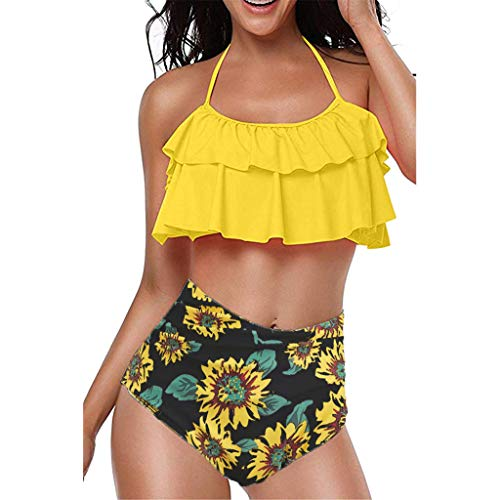 Eaylis Damen Bademode Sexy Bikini Zweiteiler Plus Size Backless Halter Strand Gedruckt Badeanzug Set Beachwear Strandmode Sport Schwimmanzug