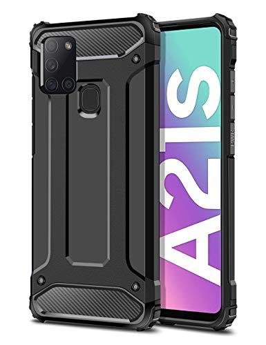 Coolden Samsung Galaxy A21s Hülle, Premium [Armor Serie] Outdoor Stoßfest Handyhülle Samsung A21s Schutzhülle Case Doppelschichter Tough Silikon TPU + PC Bumper Cover (Schwarz)