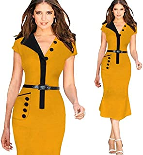 Orange Polyester Casual Dress For Women