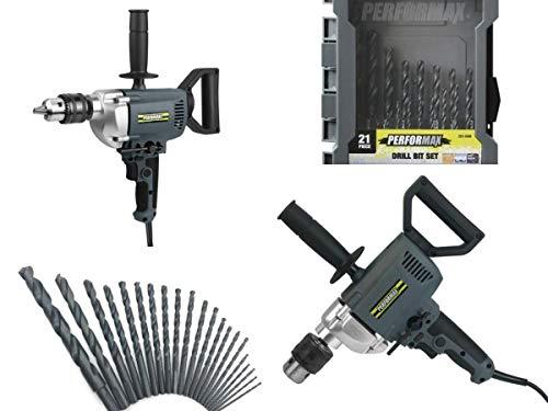 Performax 7-Amp Corded 5/8' Spade Handle Drill & Black Oxide Twist Drill Bit Set - 21 Piece