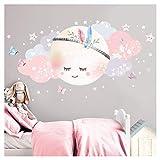 Little Deco Wandsticker Kinderzimmer Mädchen Mond & Wolken
