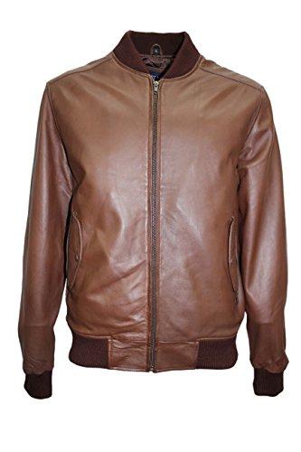 Smart Range New Kevin Stylish 70'S Retro Bomber Men's Oxblood Classic Fashion Italian Soft Nappa Lambskin Leather Jacket (L)
