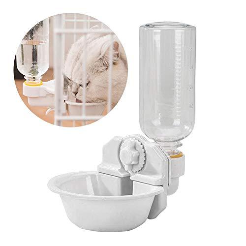 N/K Automatische Haustierwasserflasche mit Schüssel, 500 ml Käfig hängender Wasserspender für Haustiere, ohne abnehmbaren Tropfen, für Katze/Hund/Hase/Frettchen/Hamster