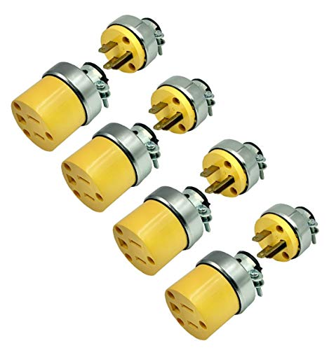 BRUFER 310320-01Heavy Duty ARMORED Male and Female Extension Cord Replacement Plugs 3-Prong 125V 15A - 3 Wire Replacement Male and Female Electrical ARMORED Plug Sets - Bulk Pack of 4 Sets