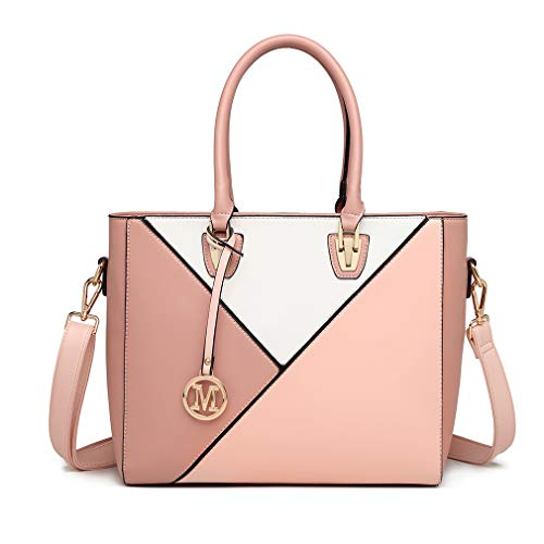 Miss Lulu Handbag Leather Look Geometric Ombre Shoulder Bag (Nude)