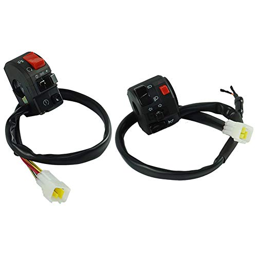 SODIAL Interruptores de Motocicleta de 22Mm, Interruptor de SeeAl de Giro con BotóN de Bocina, Interruptor de Controlador de Manillar de Arranque de Luz Antiniebla EléCtrica