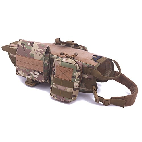 Darkyazi Dog Tactical Military Vest Training Outdoor Molle Camouflage Harness with 3 Detachable Pouches (M, Camouflage)